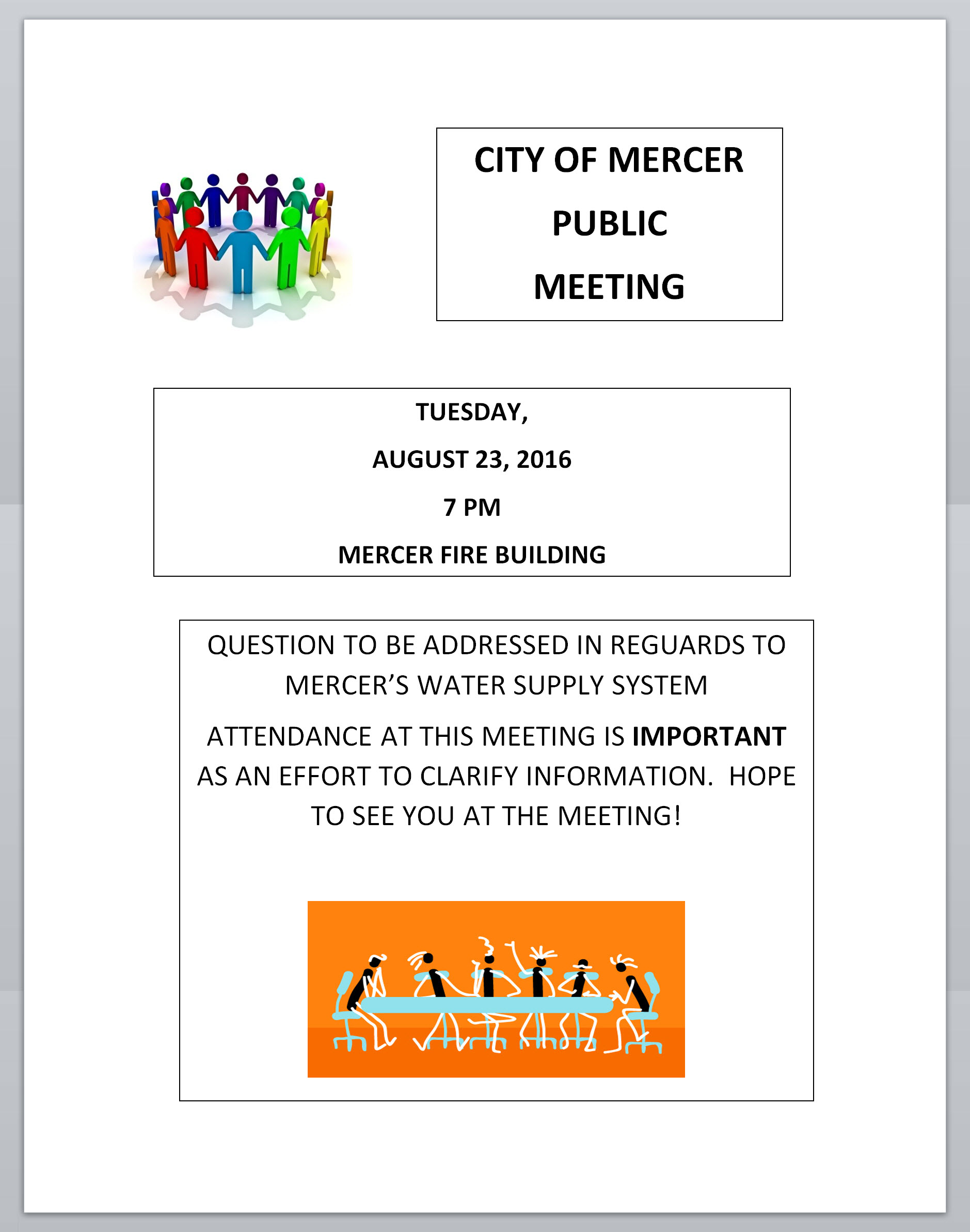 August 23, 2016 City of Mercer Public Meeting